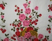 Vintage linen kitchen towel, roses and berries design