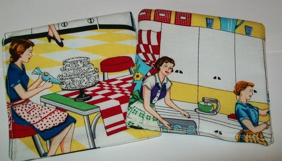 2 1950's kitchen look coasters