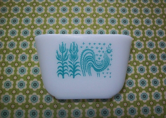 Vintage 1960's turquoise and white Pyrex dish, Butter Print design