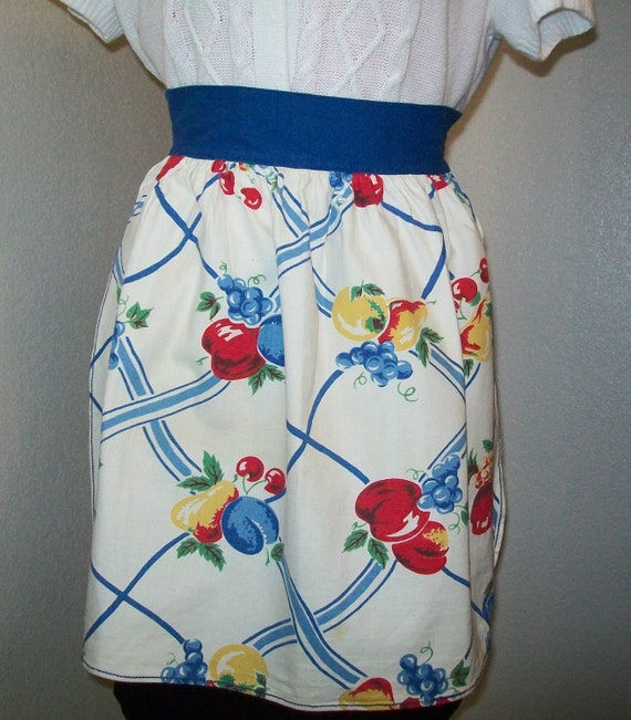 SALE - Vintage fruit print linen apron, red, blue, royal blue, linen, apron, 1960s, 1950s, fruit design