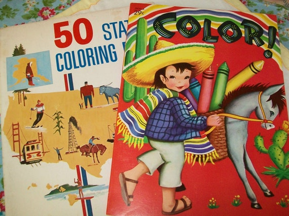 2 vintage coloring books 1960s children zoo animals 50