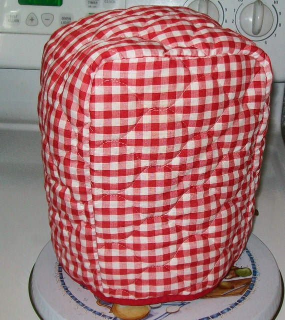 Vintage red checked, reversible kitchen appliance cover, red calico, floral, mini blender cover