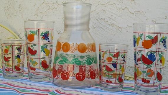 Vintage 1960s beverage glasses, fruit design, Catty Wampus, beverage glass, glass, cup
