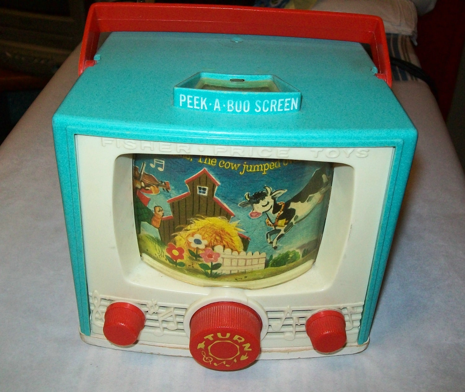 Popular Toys In The 1960s : Vintage s fisher price tv toy turquoise hey diddle