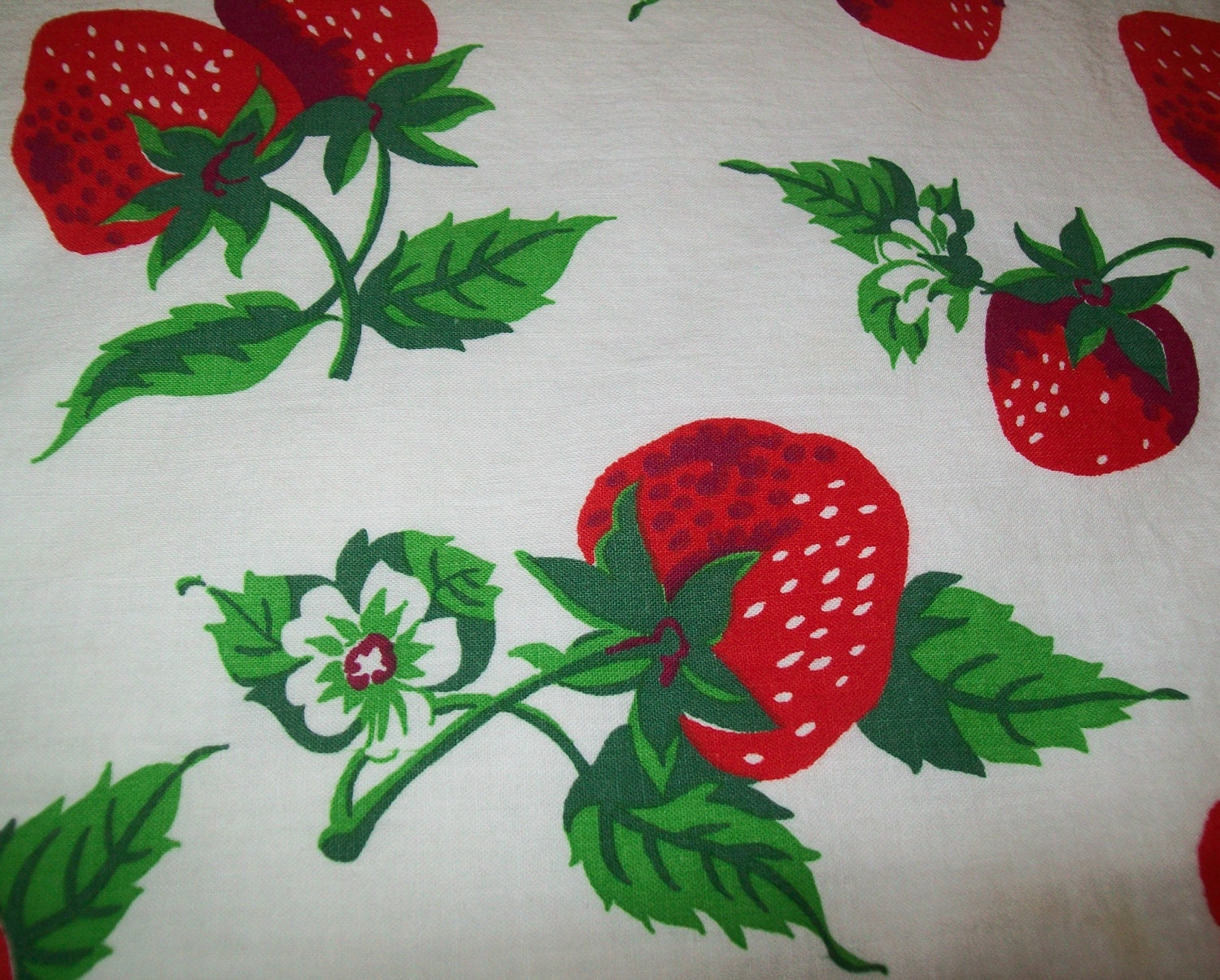 Vintage Strawberry Fabric Tablecloth Table Cloth By
