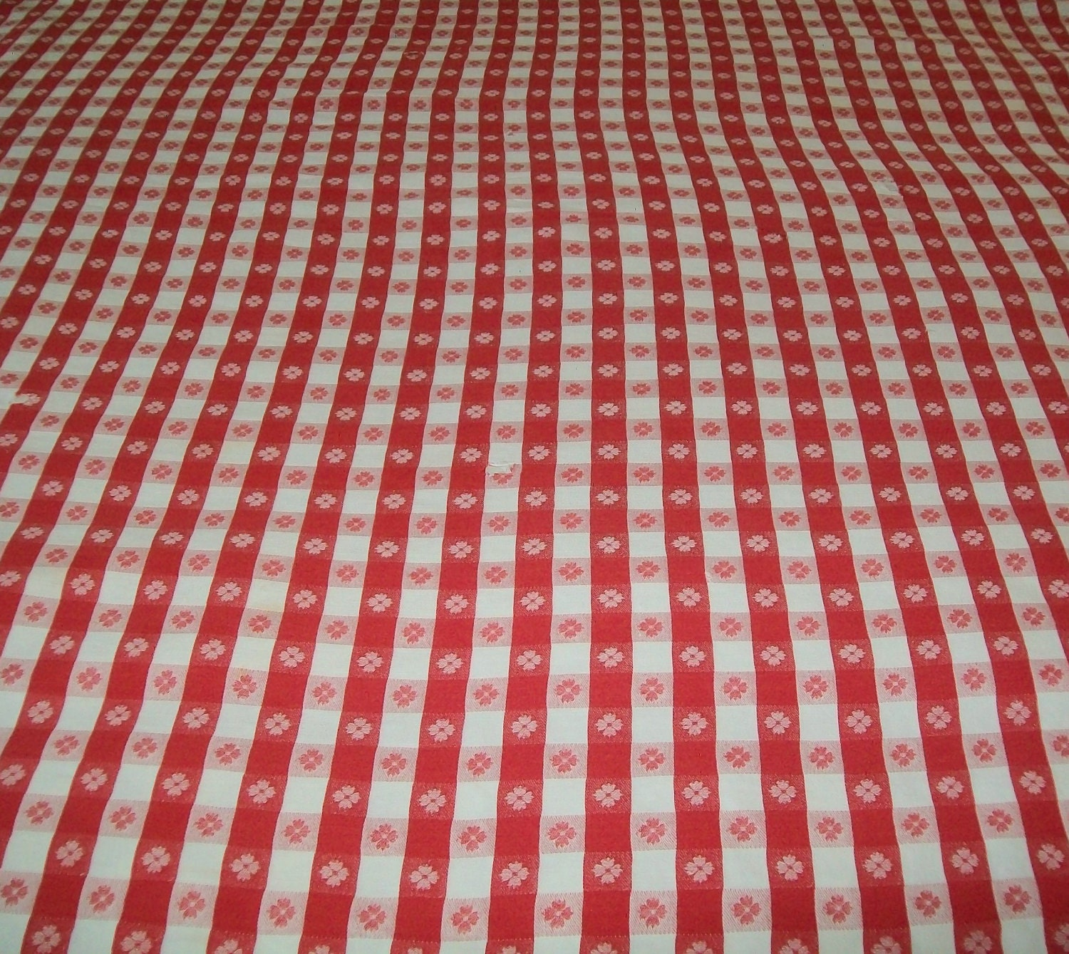 Vintage Red Checked Tablecloth Red White Checked Classic