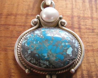 Turquoise, Pearl, and Silver Pendant