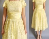 Vintage 1950s buttercup yellow Lace Party Dress.