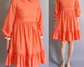 Coral Peter Pan collar Babydoll Dress. size xs, small.