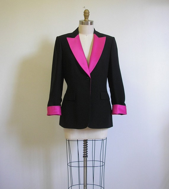 Black And Hot Pink Dinner Jacket By Seesong On Etsy