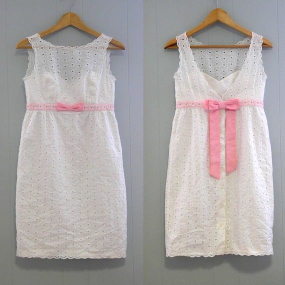 WHITE BABY DOLL Empire waist DRESS eyelet lace with pink