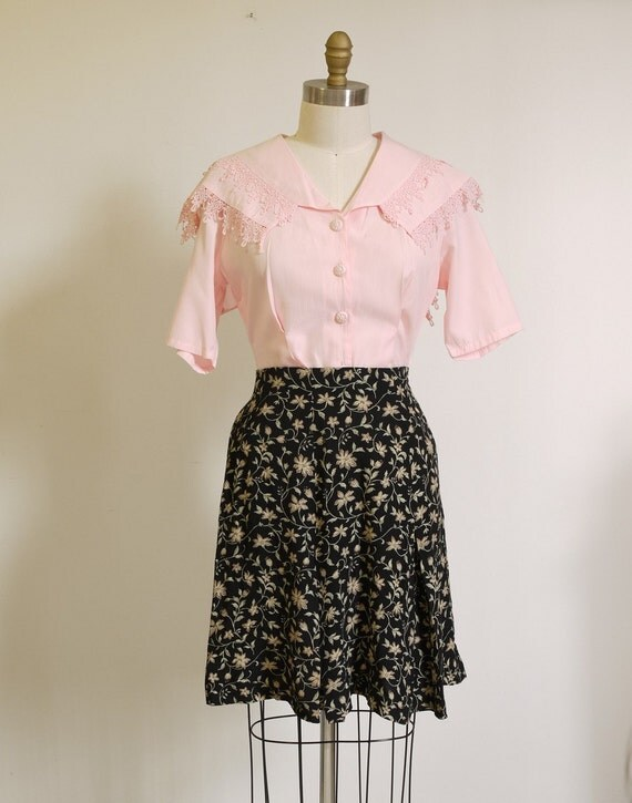 Angel Pink 80s vintage Lace Big Collar fitted blouse