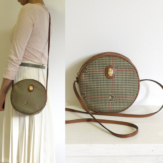 Circle Houndtooth and leather mini shoulder bag by Mark Cross.