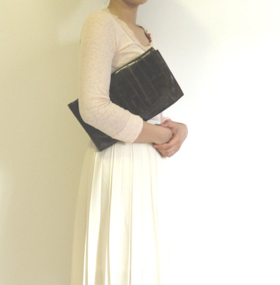 Italian leather clutch and shoulder bag.