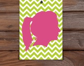 "custom art: silhouette with chevron background (5"" x 7"")"