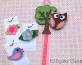 Woodland Collection - Whimsy Tree Hair Clip Holder and Woodland Felt Hair clips / Girls Hair clips / Owl Bird Flower