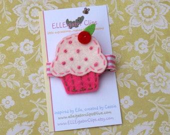 Felt Strawberry Cupcake with Vanilla Icing Hair Clip - 0037- Girls Hair Clips - Felt Cupcake / Birthday