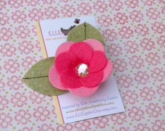 Olivia - Bubble Gum Pink Felt Flower Hair Clip - Girls Hair Clips / Felt Hair Clips / Pink Felt Flower