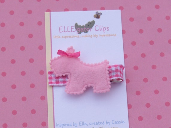Pink Felt Scottie Dog Hair Clip - 0071 (see store for coupon code)