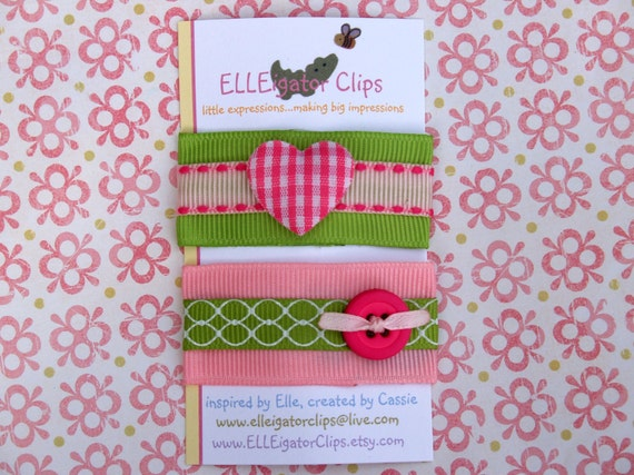 Pink and Green 50mm Hair Clip Set - Tess - Girls Snap Clips / Hair Clips