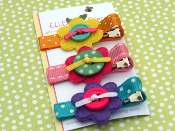Phoebe - Felt Flower and Button Hair Clip Set (also avail. as baby snap clip) / Baby / Toddler hair clips