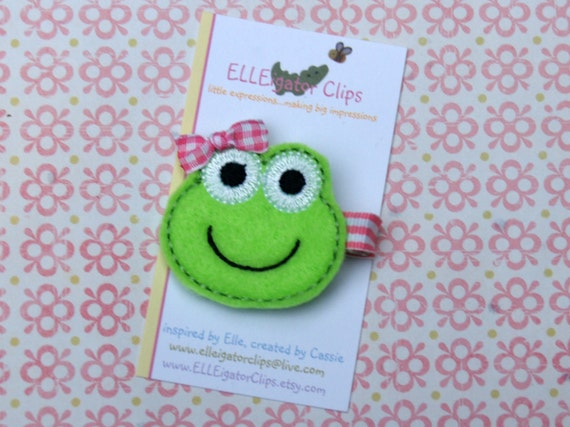 Miss Frog- Lime Green and Pink Felt Frog Hair Clip - Girls Hair Clips / Felt  Hair Clips / Embroidered