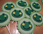 Party Banner Frogs With 8 Cupcake Toppers Too -FREE Shipping  OOAK