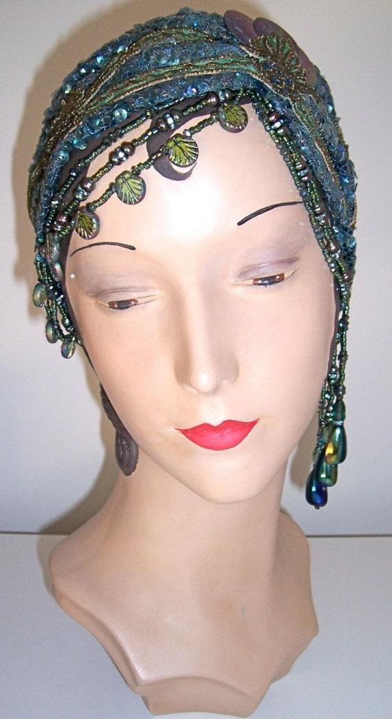 20s Sequined Beaded Flapper Mermaid Headpiece Headband Turban
