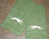 Greyhound  Embroidered Kitchen Towels - Pair