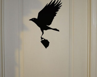 Thieving Crow with Teacup - Wall Decal