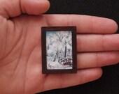Original Miniature Painting for Dollhouse Winter Bridge SALE 45% OFF