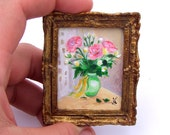 Acrylic Miniature Original Painting with Gold Frame - Pink Flowers- 15 % OFF