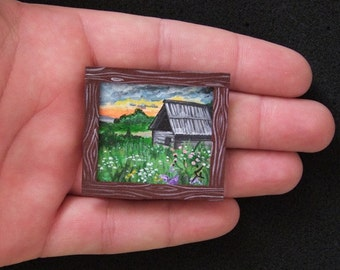 Miniature Original Painting Dollhouse or Collection from VaKaDi SALE 40% OFF