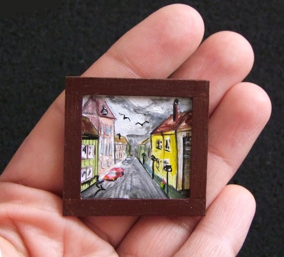 Tiny Original Miniature Doll House Acrylic Painting Amsterdam Collectable SALE 50% OFF