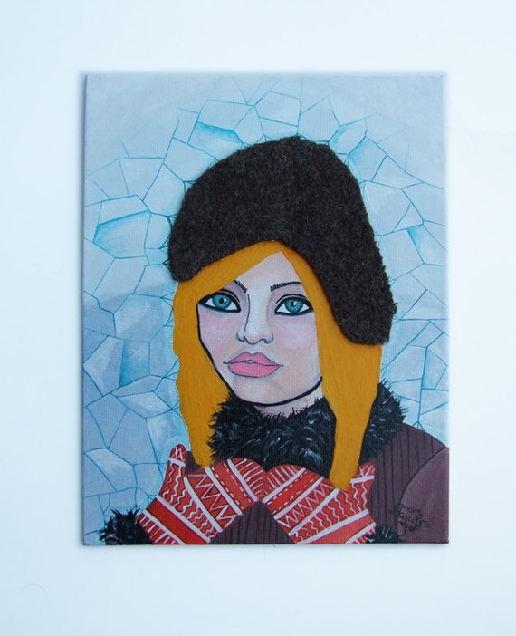 Original Acrylic Painting Collage- Winter Girl Small Painting- Christmas Gift Art- Blue Winter