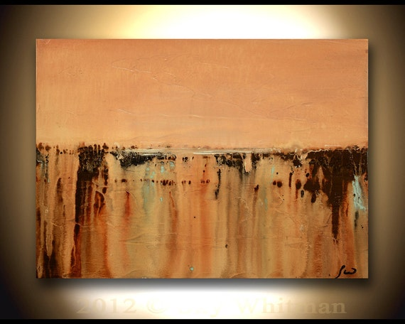 Original Modern Art Textured Palette Knife Soft Peachy Tan and Caramel Abstract Contemporary Skyscape Painting by Sky Whitman HUGE SHOP SALE