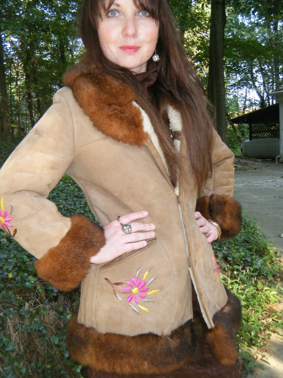 SALE Vintage 70s german suede and shearling BOHO  floral embroidered faux fur ladies 3/4 length coat size small