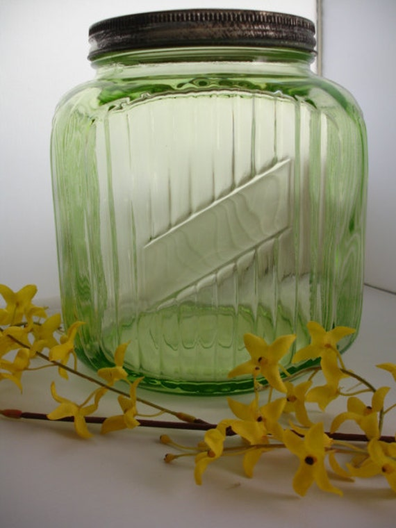 Green Depression  Cookie JarGlass Canister Anchor Hocking 1930s