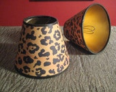 pair of small paper leopard print lamp shades-reserved for deborah