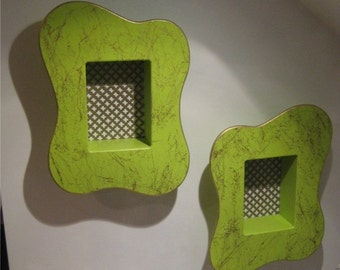 vintage 50's style  chartreuse amoeba pair of atomic shadow boxes tiki