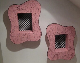 vintage 50's style pink amoeba pair of atomic shadow boxes tiki