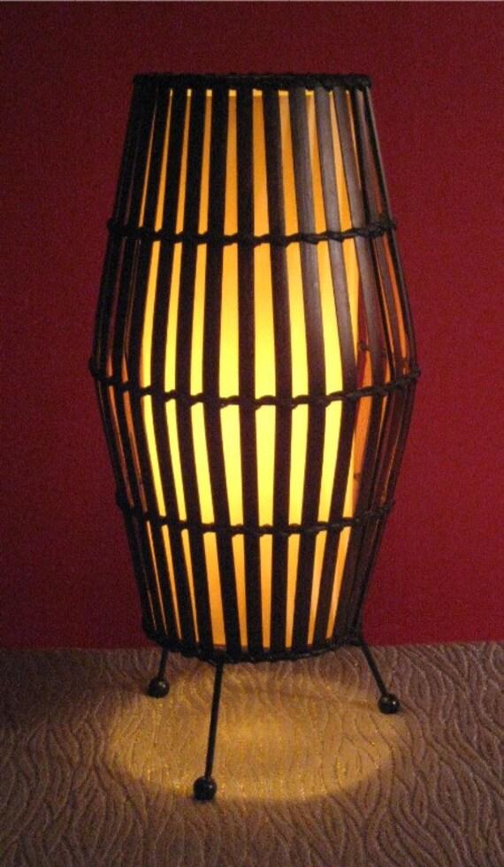 split bamboo tiki tripod table lamp