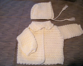 Crochet Baby Set - Cardigan and Bonnet