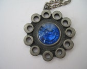 Vintage Swedish R. Tennesmed Pewter Pendant Necklace with Sapphire Blue Glass Rivoli at the Center