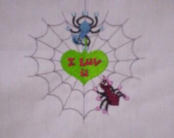 Spiders I Love U machine embroidered quilt block 4x4