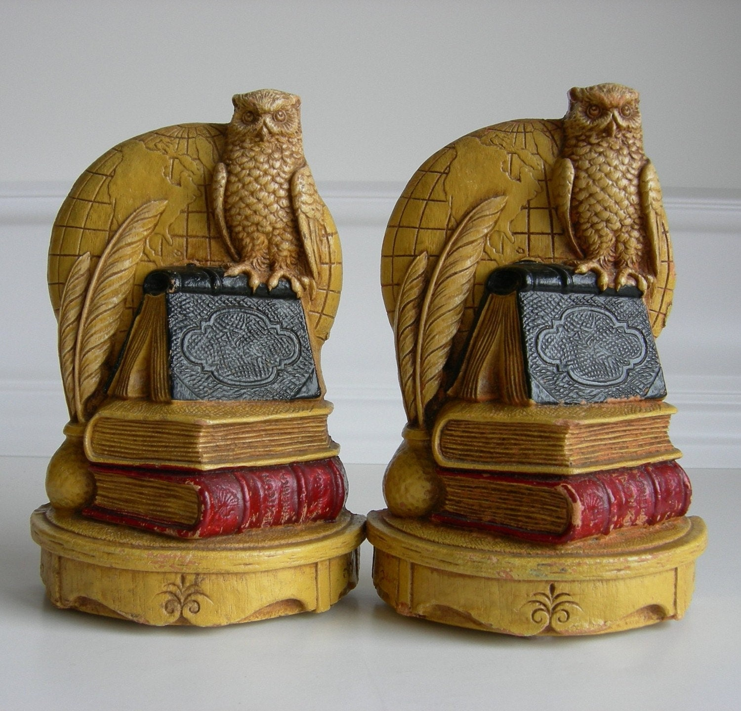 Vintage Owl Syroco Wood Pair Of Bookends Syracuse Ornamental