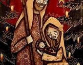 Red Nativity 8 x 10  Print,  by mixed media artist Kelly Lish