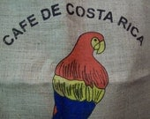 Big Colorful Parrot on a Coffee Bean Bag From Costa Rica
