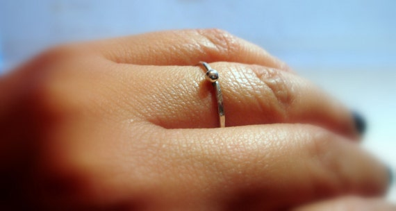 Simple Unisex tiny ring silver stacking ring