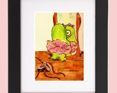 Dance print, cute monster, children decor, ballet print, 5x7